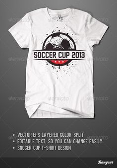 Soccer Cup T-Shirt Design Template PSD, Vector EPS, AI. Download here: http://graphicriver.net/item/soccer-cup-tshirt-design/4711190?ref=ksioks
