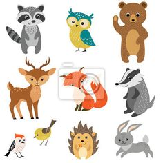 """Stickers """"cute, cartoon, character - cute forest animals"""" ✓ Easy Installation ✓ 365 Day Money Back Guarantee ✓ Browse other patterns from this collection!"""