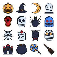 Halloween ikony kolekcji Darmowych Wektorów