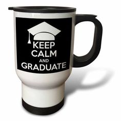 3dRose Keep calm and graduate. Black., Travel Mug, 14oz, Stainless Steel