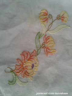Shadow-work / Lucknow Chikan embroidery on organdy sari using Anchor Embroidery thread...... (Series 1-D)