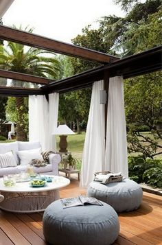 Pergola patios are a popular trend because they provide some shade and are easy to hang objects like curtains and lights from. This outdoor room gives you the homey feeling of your living room with a backyard breeze. Outdoor Rooms, Outdoor Dining, Outdoor Gardens, Outdoor Pergola, Outdoor Furniture, Outdoor Seating, Outdoor Lounge, Wooden Pergola, Garden Furniture