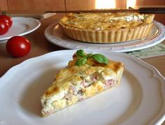 VÍKENDOVÉ PEČENÍ: Slaný koláč Quiche Savory Tart, Savoury Baking, Quiche, Baking Recipes, Ham, Pizza, Brunch, Food And Drink, Snacks