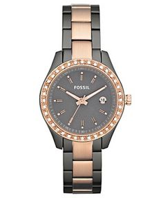 Fossil Watch, Women's Stella Rose Gold and Smoke Ion Plated Stainless Steel Bracelet 30mm ES3032