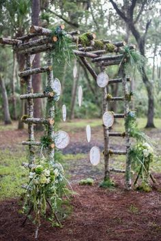 Top 60 Most Ethereal Redwood Forest Wedding Ideas--boho wedding backdrop with wood frame, fall and spring weddings, rustic wedding ideas. wedding arch Top 60 Most Ethereal Redwood Forest Wedding Ideas Wood Wedding Arches, Wedding Arch Rustic, Wedding Ceremony Arch, Woodland Wedding, Forest Wedding, Rustic Arbor, Diy Wedding Arbor, Decor Wedding, Diy Wedding Trellis