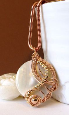 Mother of Pearl Wire Wrapped Pendant Rose Gold by BellaDivaBeads