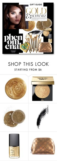 """#Gift Guide - Beauty Faves - Gold and Black"" by nikkisg ❤ liked on Polyvore featuring beauty, Bobbi Brown Cosmetics, Sonia Kashuk, NARS Cosmetics, Gucci and giftguide"