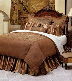 Avalon Dark Copper Comforter Set Available In Queen And