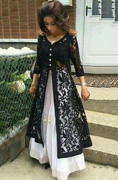 design Dresses Anarkali - Net Machine Work Black Unstitched Long Anarkali Suit at INR 1329 Indian Attire, Indian Outfits, Indian Wear, Vetement Hippie Chic, Long Anarkali, Anarkali Suits, White Anarkali, Punjabi Suits, Kurti Designs Party Wear