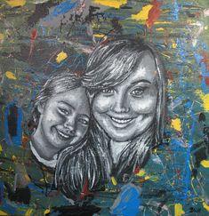 Maleri Birgitte og Julia 60x60 cm. Painting, Art, Art Background, Painting Art, Kunst, Paintings, Performing Arts, Painted Canvas, Drawings