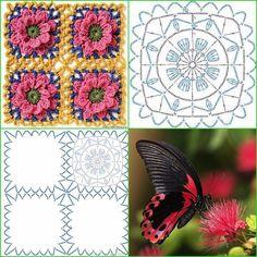 Crochet Squares, Crochet Blocks, Crochet Granny, Crochet Motif, Crochet Doilies, Crochet Flowers, Knit Crochet, Granny Squares, Crochet Square Patterns