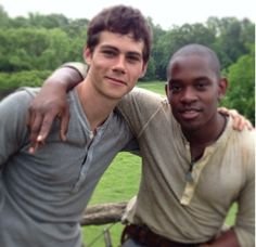 Dylan O'Brien and Aml Ameen - The Maze Runner set