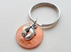 Baby Feet Charm Layered Over 2012 Penny Keychain; Mother's Keychain, Father's Keychain