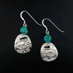 Sonia Triebwasser, Sterling Silver Earrings with Turquoise, Killerwhales, Northwest Coast Native Art