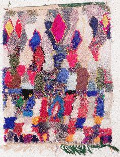 """Rag rug from Morocco called """" boucherouite or boucharouette """" berber tribal art. $269.00, via Etsy."""
