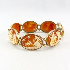 Antique Cameo Bracelet Seven Days of the Week 14K Yellow Gold Art Deco Roman Life Carved Carnelian Shell Fine Jewelry