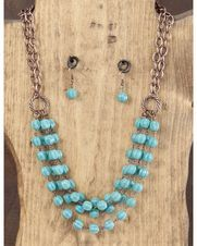 "22"" Turquoise Bead and Copper Chain Necklace Set,"