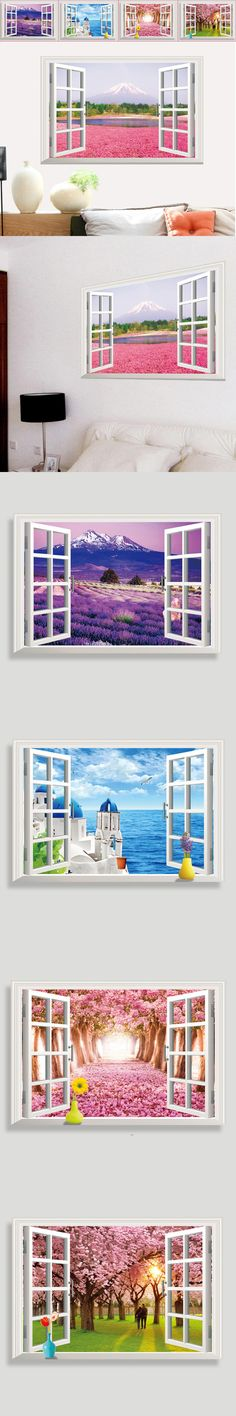 Removable 3D Window Beach Sea Flowers Scenery Wall Sticker home Decor Decals Mural Decal Exotic Beach View C1055P20 $5.45