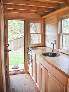 Kitchen in a tiny house built by Portland Alternative Dwellings. I think this is my favorite right now.