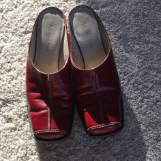 Anne Klein shoes, 6.5 Red leather in very good condition top and inside. Soles leather, marred but not worn. 6.5 Anne Klein Shoes Mules & Clogs
