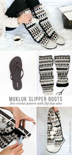 Omg-love these! These modern, tribal, mukluk-style crochet slipper boots are crocheted separately and then added to flip flops soles. Super cozy free pattern! via @makeanddocrew