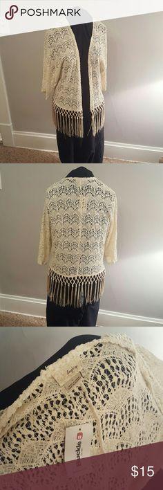 Boho Fringe Lace Cardigan Antique White lace Cardigan with knotted fringe along bottom hem Daytrip Sweaters Cardigans