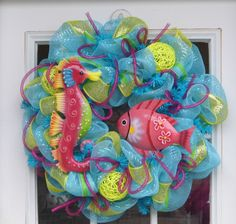 Under The Sea Summer Mesh Wreath mothers day, seas, front doors, sea theme, summer mesh, mesh wreaths, kid bathrooms, summer wreath, sea summer