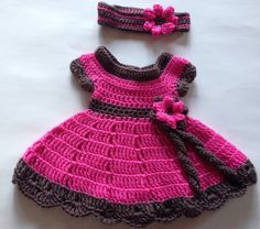 Pink and Brown Crochet Baby Dress and Headband with Flower by LaBufandaLLC  on Etsy a417a7e6bfee