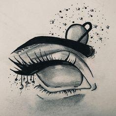 Dark Art Drawings, Art Drawings Sketches Simple, Pencil Art Drawings, Moon Drawing, Painting & Drawing, Psychedelic Drawings, Small Canvas Art, Eye Art, Art Sketchbook