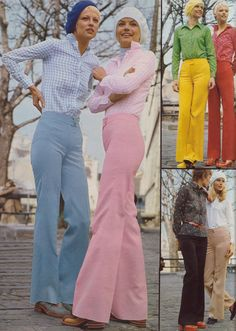 1970's fashion images...love the shoes and the bell bottoms in bright colors.