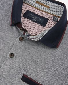 Contrast collar polo shirt - Navy | Tops & T-shirts | Ted Baker