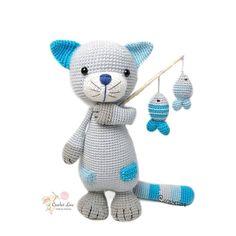 from - Ich bin so verliebt in den süßen Karl Fischerman🐈🐠. Gato Crochet, Crochet Dolls, Knit Crochet, Amigurumi Toys, Amigurumi Patterns, Crochet Patterns, Crochet Animals, Handmade Toys, Pet Toys