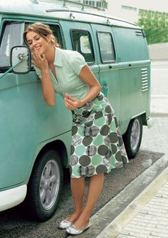retro mint - love her outfit, and the bus of course ☮ re-pinned by http://www.wfpblogs.com/author/southfloridah2o/