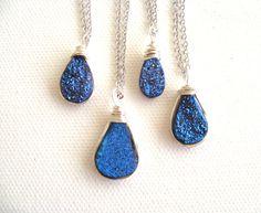 Blue Titanium Druzy Necklace celebrities at Golden Globes Vitrine Gift for her Under 60 Raindrop necklace on Etsy, $55.00
