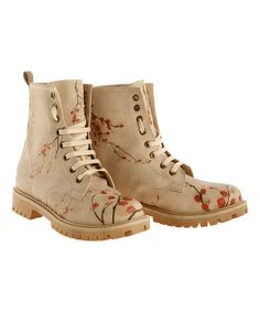 Love this Beige & Red Floral Stem Combat Boot on #zulily! #zulilyfinds