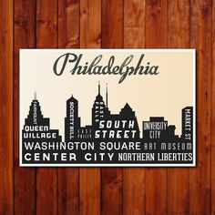 Philadelphia Typography Poster. Philly Skyline Typography Art Print. Inspirational Art. City Art Print. 12x18 via Etsy