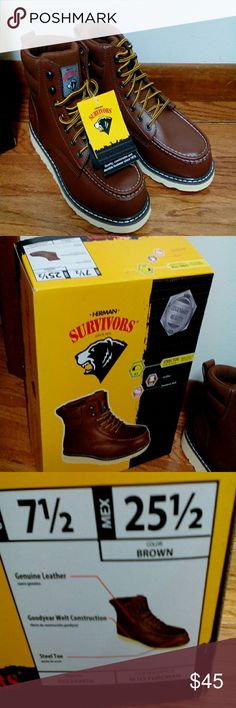 Mens Herman Survivors work boot NWT,  size 7 1/2, smoke free home, steel toe Herman Survivors Shoes Boots