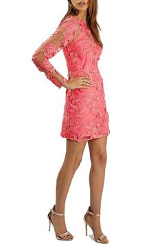 Topshop Lace Appliqué Long Sleeve Minidress available at #Nordstrom