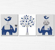 Navy and grey Nursery Art Print Set 5x7 Kids Room by SugarInspire, $29.95