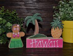 Hula Girl Hawaiian Home Decor Block set Hawaii by BlocksOfLove1, $17.99