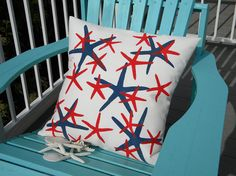 Outdoor pillow STARS ARE OURS starfish patriotic by crabbychris, $41.00