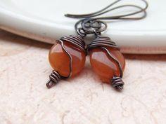 Antique Apricot Earrings Copper Earrings by deannewatsonjewelry on Etsy