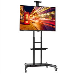 Mount Factory Rolling TV Stand Mobile TV Cart for 40-90 inch Plasma Screen, LED, LCD, OLED, Curved TV's - with Mount for Universal with Wheels. Universal fit and compatibility for televisions from 40 - 90 in. Sturdy steel frame; rated for televisions up to 200 pounds, heavy-duty locking casters. Ideal TV display that can move to any room in the home or office. Universal fit - fits VESA hole patterns from 200mm x 200mm to 800mm x 500mm. Component shelf for cable box, DVD player, etc.