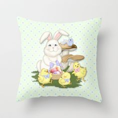 White Rabbit and Easter Friends Throw Pillow by Spice - $20.00