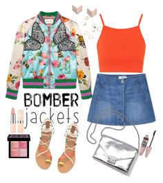 """""""Bomber Summer"""" by retnoversoo on Polyvore featuring Gucci, Topshop, MANGO, Loeffler Randall, FOSSIL, Maybelline, Givenchy and bomberjackets"""