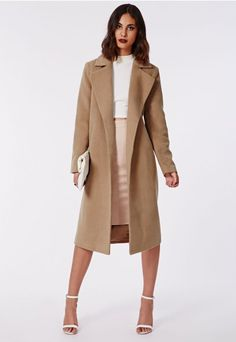 Kimberley Premium Waterfall Wool Coat Camel - Coats & Jackets - Missguided, $114