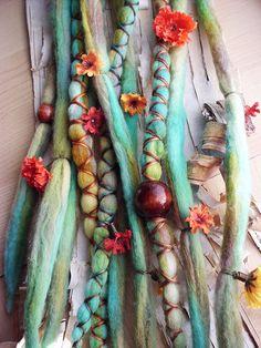 Flower Maiden Custom Order Tie-Dye Multi Color Wool Dreads with X-Cross Wrap & Beads Bohemian Hippie Dreadlocks Synthetic Boho Extensions. , via Etsy.