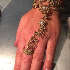 """Bracciale-anello bronzo con Perle naturali """"arabesque"""""""
