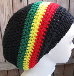 Jamaican hat black red yellow green  Slouchy Baggy  by WoolFashion