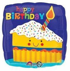 Happy Birthday Cake Slice-Pkg foil balloon (5ct)